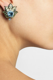 LanvinUdaipur gold-tone Swarovski crystal clip earrings