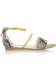 Snake-effect faux leather sandals