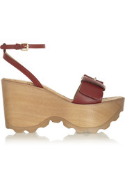 Buckled faux leather wedge sandals