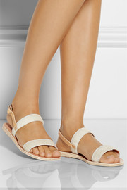 Ancient Greek Sandals Clio calf hair and leather sandals