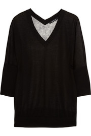 Cashmere-blend and printed silk-georgette sweater