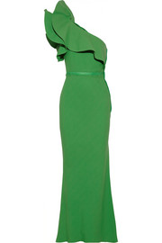 Lanvin One-shoulder ruffled crepe gown