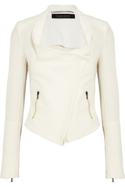 Roland Mouret Mensa stretch crepe-paneled basketweave cotton jacket