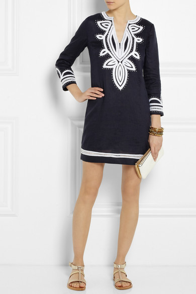 70c328408cb4 Tory Burch. Odelia embroidered linen tunic dress