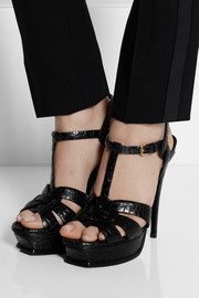 Saint Laurent Tribute croc-effect leather sandals