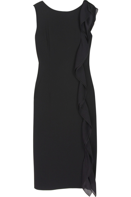 Black Crepe Ruffle Detail Dress Boutique Moschino Net A Porter