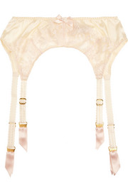 Agent Provocateur Abbey lace-trimmed silk-blend satin suspender belt