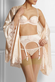 Agent Provocateur Abbey lace-trimmed stretch-silk satin robe