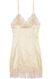 Agent Provocateur Abbey lace-trimmed silk-blend satin chemise