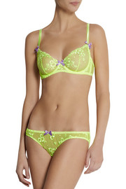 Agent Provocateur Brittnie neon embroidered tulle underwired bra