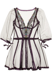 Agent Provocateur Petunia floral-embroidered stretch-tulle robe
