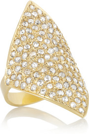 Halleh 18-karat gold diamond shield ring