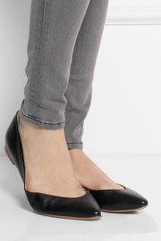 Leather pointed flats
