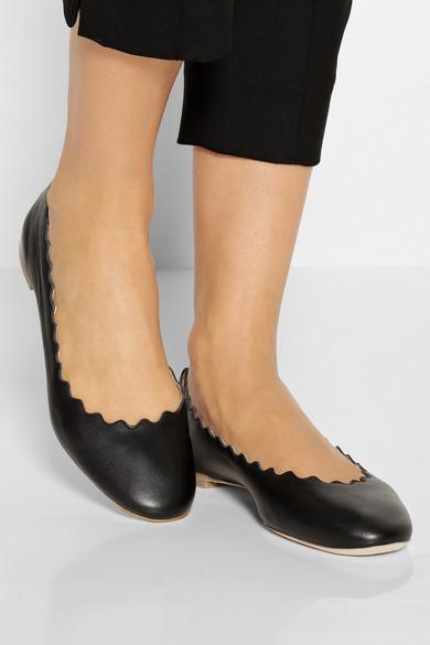 c805673ba9 Lauren scalloped leather ballet flats