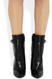 Shark Lock black leather wedge ankle boots