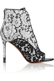 Lace on black and white leather ankle boots