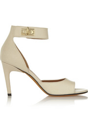 Shark Lock textured-leather sandals in cream