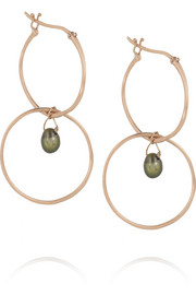 Inez and Vinoodh 18-karat rose gold pearl earrings