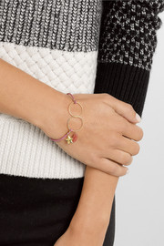 Inez and Vinoodh 18-karat gold, love stone and leather bracelet