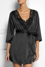L'Agent by Agent Provocateur Marisela lace-trimmed stretch-satin robe
