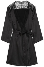 Marisela lace-trimmed stretch-satin robe