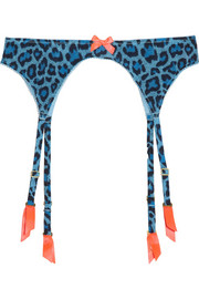 Leonara leopard-print stretch suspender belt