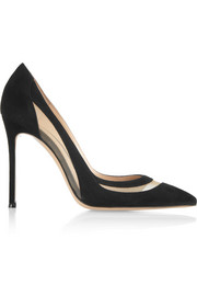 Gianvito Rossi Mesh-paneled suede pumps
