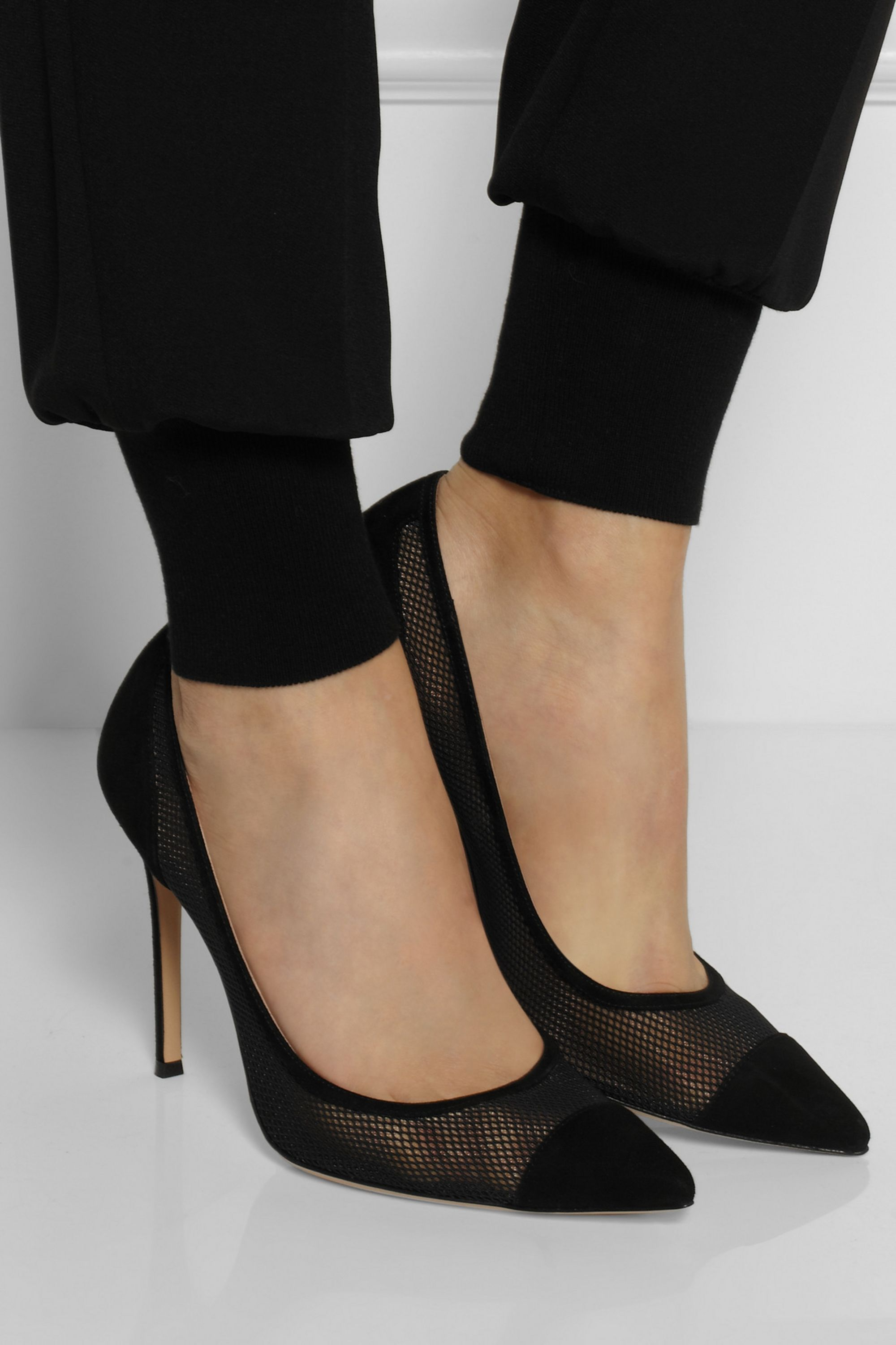 Gianvito Rossi Suede and mesh pumps