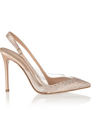 Gianvito Rossi Embellished satin and PVC slingbacks