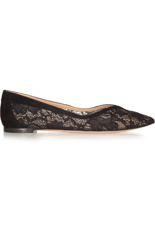 Black Suede-trimmed lace flats