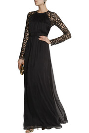 Temperley LondonLong Lily lace and silk-blend chiffon gown