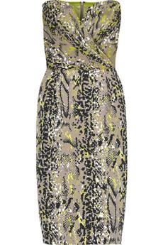DKNY Snakeprint strapless dress
