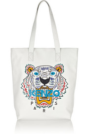 Tiger embroidered leather tote