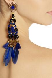 Isabel MarantKayapo gold-tone, Swarovski bead and feather clip earrings