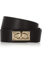 Givenchy Shark Lock bracelet in leather and gold-tone brass