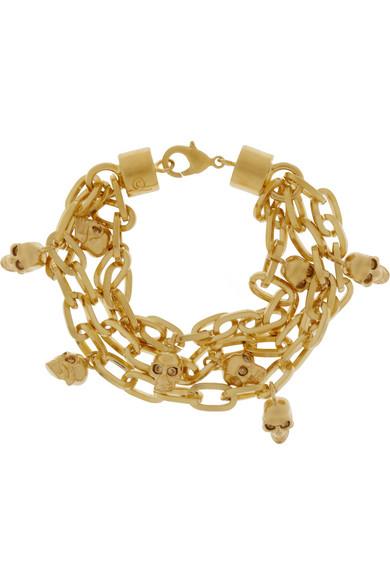 Alexander McQueen Gold-tone Swarovski crystal skull charm bracelet