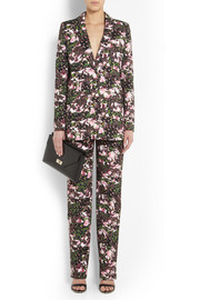 Floral-print cotton-drill straight-leg pants