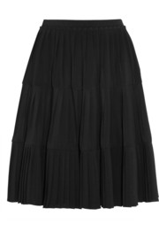 Pleated stretch-satin jersey skirt