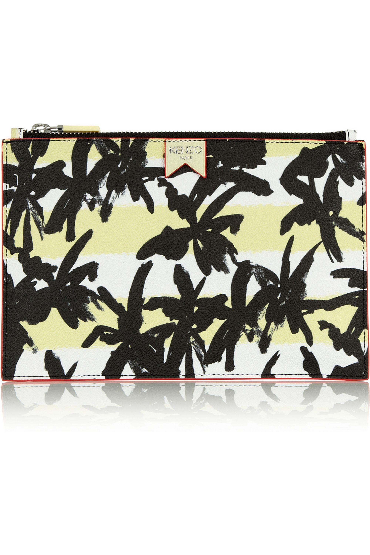 KENZO Pochette en cuir synthétique texturé à imprimé palmiers
