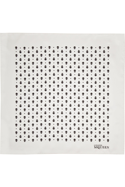 Alexander McQueen Foulard en sergé de soie à imprimé têtes-de-mort