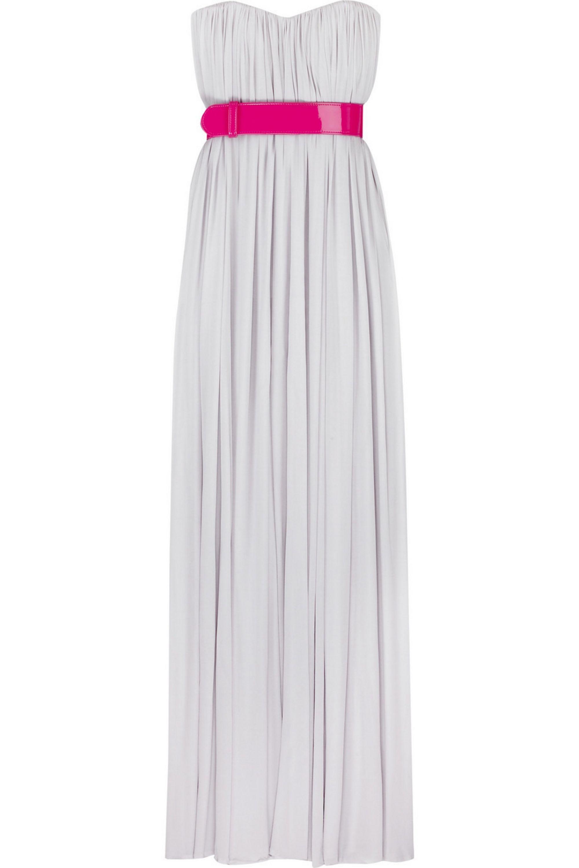 Alexander McQueen Grecian belted bustier gown