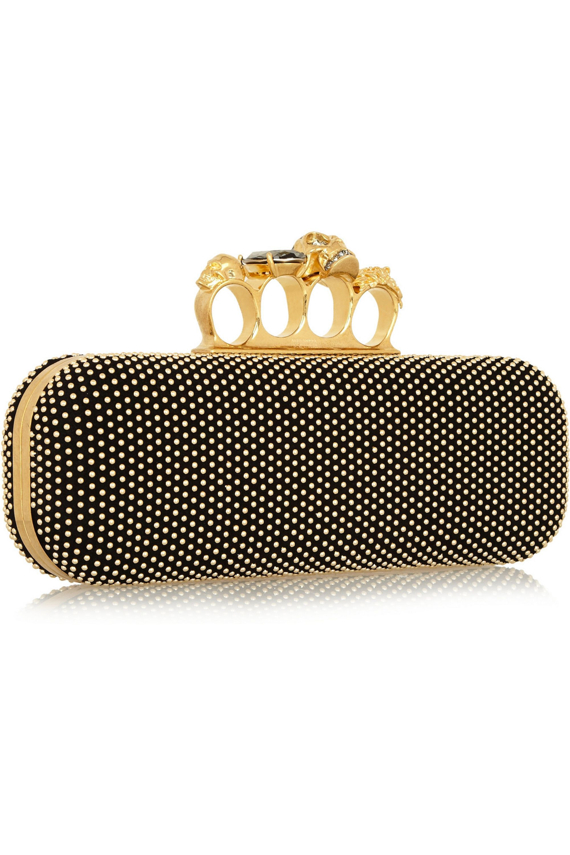 Alexander McQueen Knuckle studded leather box clutch