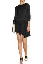 Jay AhrRuffled fine-knit wool-blend and crepe mini dress