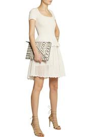 Alexander McQueenRibbed and open-knit peplum dress