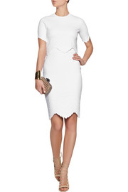 Alexander McQueenCropped embossed stretch-jersey top