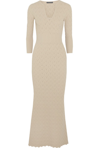 Alexander McQueen Textured-knit maxi dress