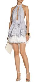Alexander McQueenTiered eyelet cotton-poplin halterneck dress
