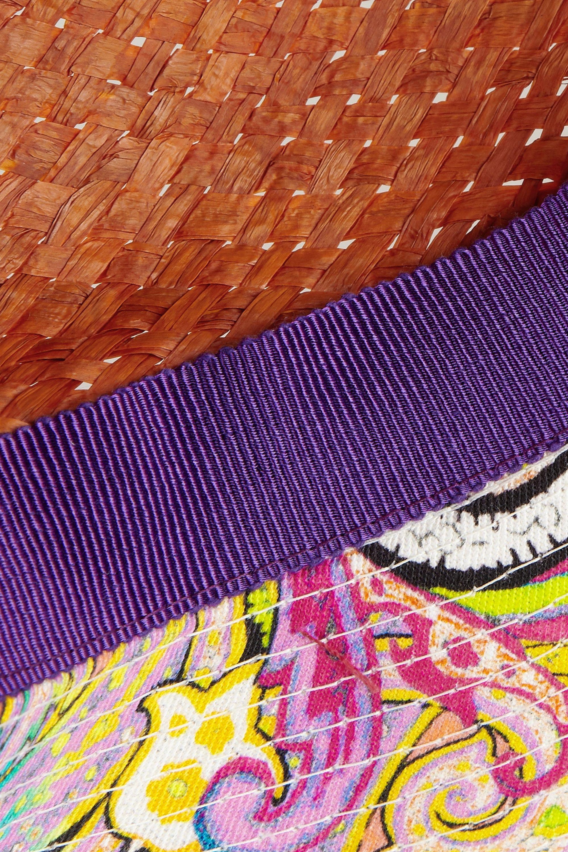 Etro Fedora en pandanus tissé et coton imprimé