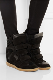 Isabel Marant The Bekett leather and suede concealed wedge sneakers