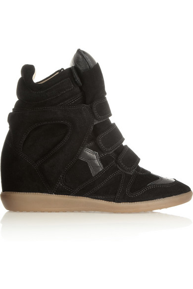 The Bekett Leather And Suede Concealed Wedge Sneakers by Isabel Marant